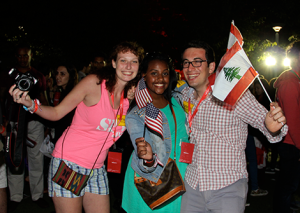 Julia, Lwam and Zach Enjoying Global Village